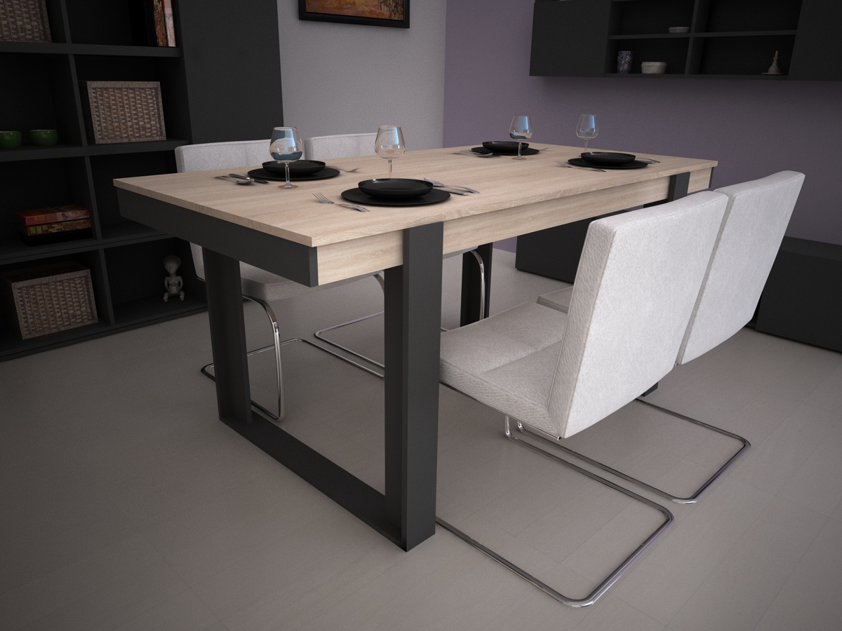 Loft lofty table a manger extensible bois ch ne maison for Table salle a manger extensible design