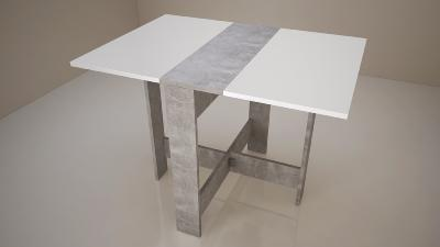 CURRY Table à manger pliante de 4 à 6 personnes style contemporain blanc, décor béton - L103xl73 cm
