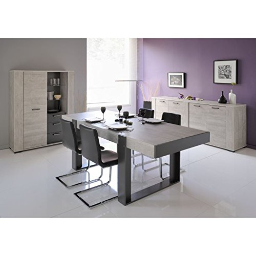 table a manger extensible loft lofty gris maison design. Black Bedroom Furniture Sets. Home Design Ideas